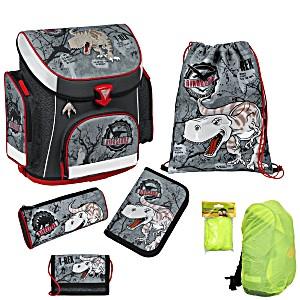 Школьный рюкзак Scooli Dino с наполнением (5 предметов) + дождевик