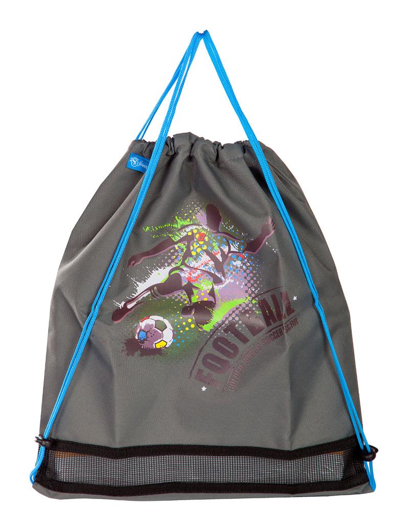 Ранец для первоклассника Hummingbird TK27 Футбол серый с мешком для обуви + пенал, - фото 4